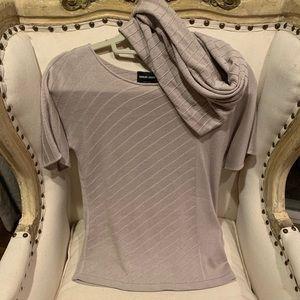 Giorgio Armani cashmere top and scarf set